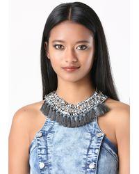 Bebe - Blue Tassel Fringe Necklace - Lyst