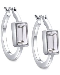T Tahari | Metallic Baguette Crystal Hoop Earrings | Lyst