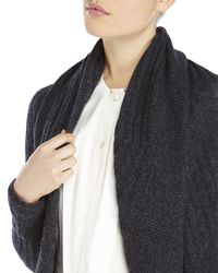 Qi | Gray Open Front Cashmere Cardigan | Lyst