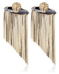 Iosselliani - Metallic Goldtone Panther Fringed Earrings - Lyst