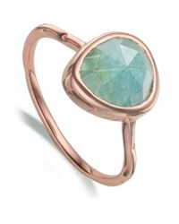 Monica Vinader | Metallic Siren Aquamarine Stack Ring | Lyst