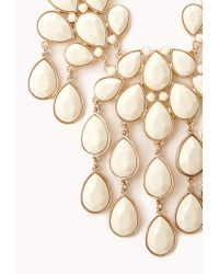 Forever 21 - White Teardrop Bib Necklace - Lyst