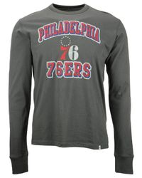 47 Brand - Gray Men's Long-sleeve Philadelphia 76ers Flanker T-shirt for Men - Lyst