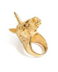 Leivan Kash | Metallic Goldplated Unicorn Ring | Lyst