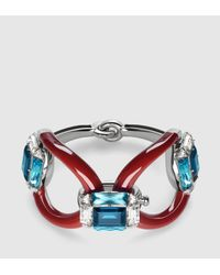 Gucci - Red Bracelet With Swarovski Crystals And Enamel - Lyst