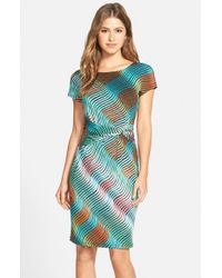 Ellen Tracy - Green Print Jersey Sheath Dress - Lyst