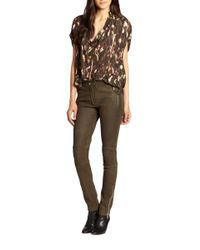 Rebecca Taylor - Green Leather Moto Pants - Lyst