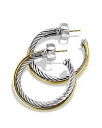 David Yurman - Metallic Crossover Medium Hoop Earrings With Gold - Lyst