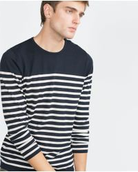 Zara | Blue Striped Sweater for Men | Lyst