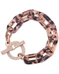 Michael Kors | Pink Rose-gold Pavé Tortoise-look Link Bracelet | Lyst