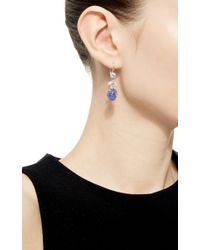 Sidney Garber - Blue Cabochon Tanzanite And Diamond Earrings - Lyst