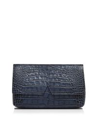 Vince - Blue Clutch - Signature Croc-stamped Medium - Lyst