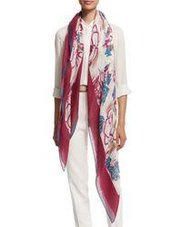 Loro Piana - Purple Spring Rose-print Cashmere/silk Scarf - Lyst