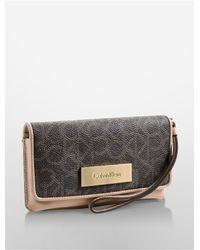 Calvin Klein - Brown White Label Jordan Large Tech Wrist Wallet - Lyst