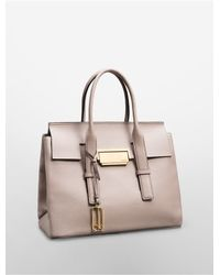 Calvin Klein | Natural White Label Kelsey Pebble Leather Metro Satchel | Lyst