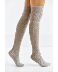 Urban Outfitters - Gray Honeycomb Over-the-knee Sock - Lyst
