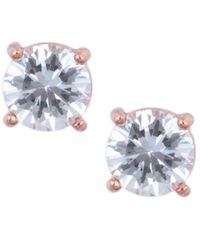 Anne Klein | Metallic Rose Gold Crystal Stud Earrings | Lyst