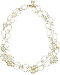 Tory Burch | White Gear Faux Pearl Convertible Station Necklace | Lyst