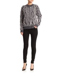 MILLY - Gray Textured Merino Wool Sweater - Lyst