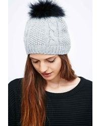 Helene Berman | Gray Beanie With Fox Fur Pom-poms | Lyst
