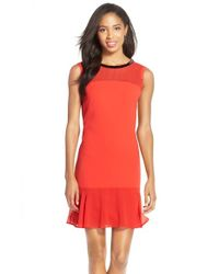 Marc New York | Orange Beaded Crepe Dress | Lyst