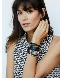Free People | Black Baton Leather Wrap Cuff | Lyst