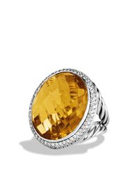 David Yurman - Metallic Dy Signature Oval Ring with Lemon Citrine Diamonds - Lyst