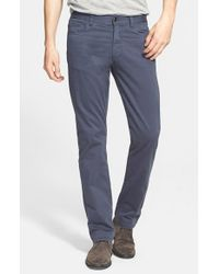 Canali - Blue Straight Leg Stretch Cotton Pants for Men - Lyst