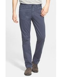 Canali | Blue Straight Leg Stretch Cotton Pants for Men | Lyst
