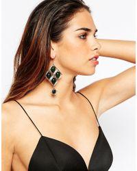 ASOS | Green 70s Geo Stone Earrings | Lyst