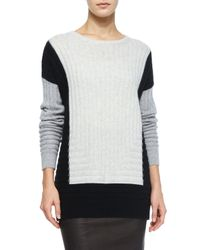 Vince | Black Colorblock Crewneck Sweater | Lyst