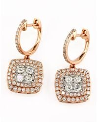 Effy | Metallic Diamond And 14k Rose And White Gold Drop Earrings, 1.29 Tcw | Lyst