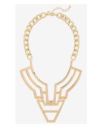 Express - Metallic Polished Geo Bib Necklace - Lyst