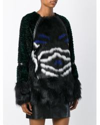 Armani Jeans Black Faux-Fur Cape