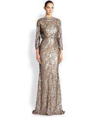 Badgley Mischka - Brown Sequin V-Back Gown - Lyst