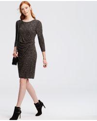 Ann Taylor - Gray Petite Heathered Ruched Jersey Sheath Dress - Lyst
