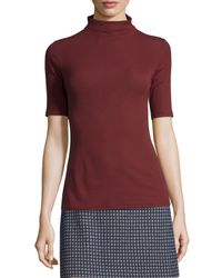 Theory - Purple Cruzio Knit Short-sleeve Turtleneck - Lyst