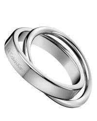 Calvin Klein - Metallic Stainless Steel Linked Ring - Lyst