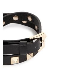 Valentino - Black 'rockstud' Double Wrap Leather Bracelet - Lyst