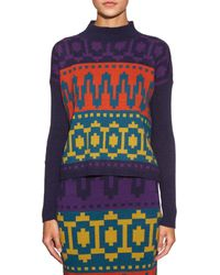 Tak.ori - Multicolor Intarsia-knit High-neck Sweater - Lyst
