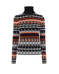 Karen Millen | Red Graphic Knit Roll-neck Jumper | Lyst