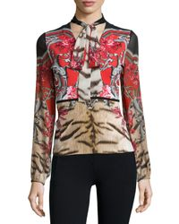 Roberto Cavalli - Multicolor Tie-neck Colorblock Print Top - Lyst