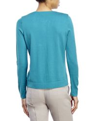 August Silk - Blue Petite Silk-Blend Knit Cardigan - Lyst