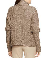 Lauren by Ralph Lauren - Natural Cable-knit Cardigan - Lyst