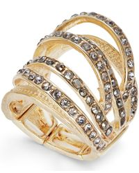 INC International Concepts - Metallic Gold-tone Hematite Pavé Multi-row Stretch Ring - Lyst