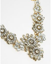 Little Mistress | Metallic Flower Cluster Statement Necklace | Lyst