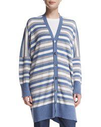 Eskandar - Blue Oversized Striped Cashmere Cardigan - Lyst