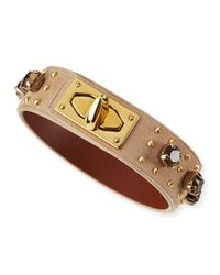 Givenchy - Brown Suede & Crystal Turn-Lock Bracelet - Lyst