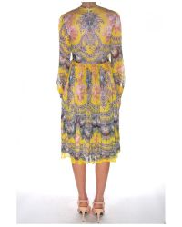 MSGM - Yellow Silk Long Sleeve Paisley Dress - Lyst
