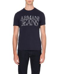 Armani Jeans | Black Logo-print Cotton-jersey T-shirt for Men | Lyst